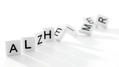 square pieces spelling alzheimer
