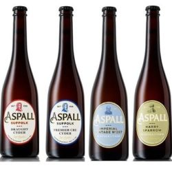 Four Aspall vegan cider bottles in a row with different colour labels