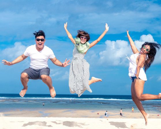 Beach blue sky cheerful