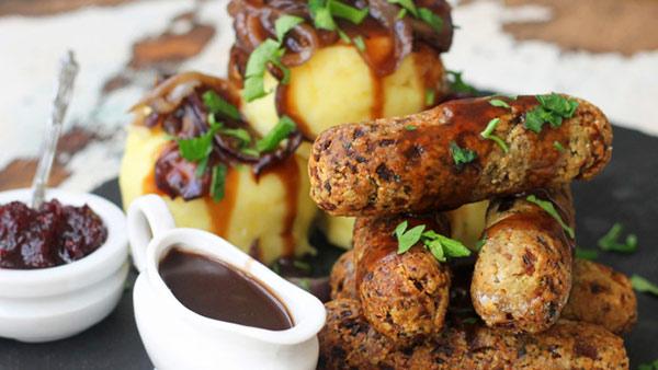 Nut sausage and mash with gravy vegan
