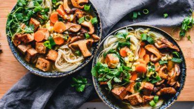 bowls of noodle dish