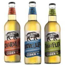 Three orchard pig vegan ciders in a row