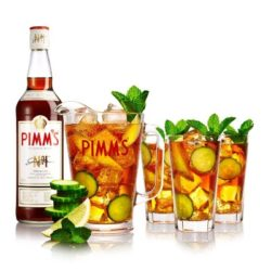 pimms bottle and pitchers