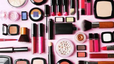 Mostly pink vegan cosmetics and makeup items