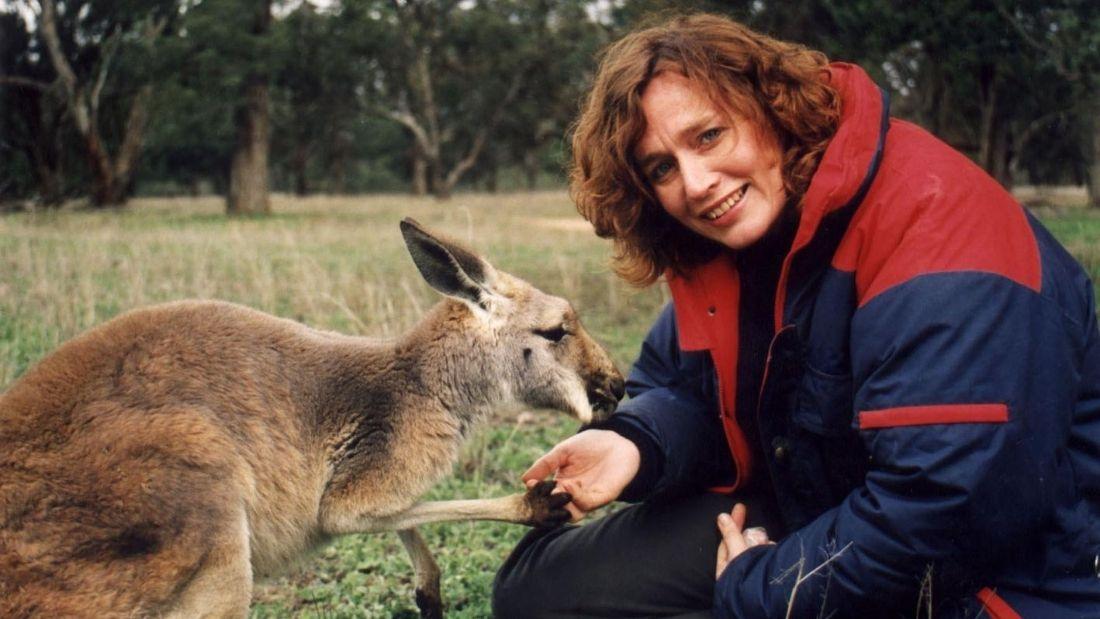 Juliet Gellatley with a kangaroo