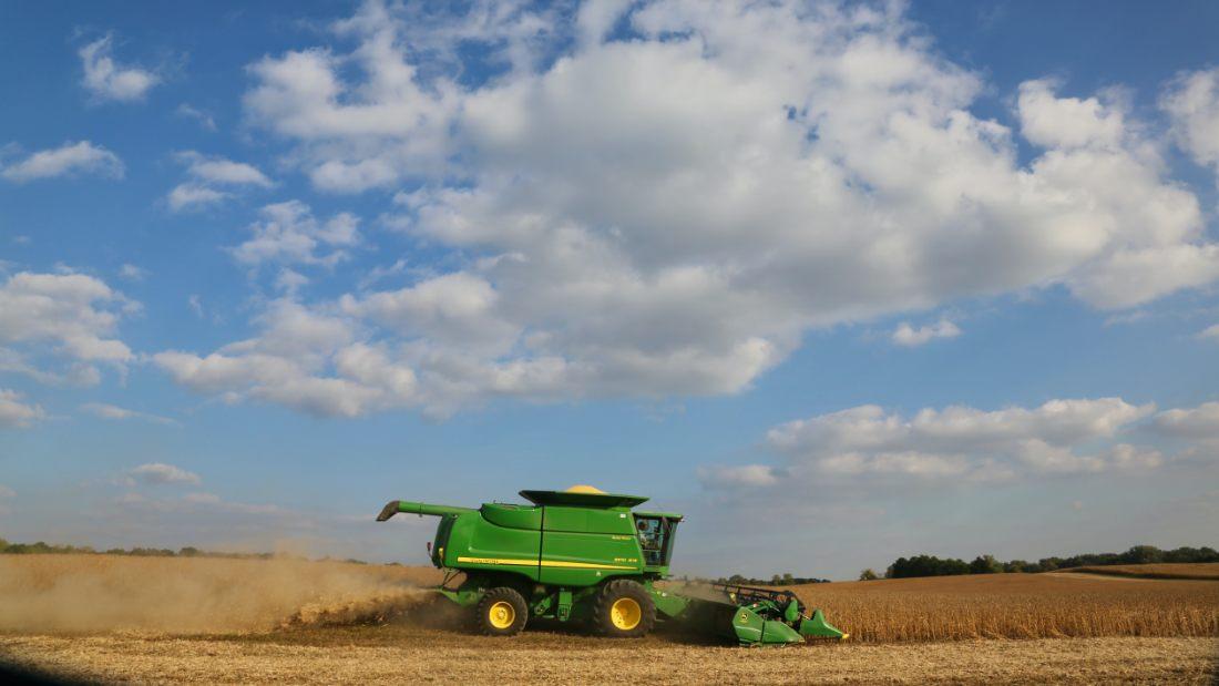 green combine harvester