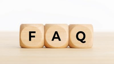three die which spell out faq