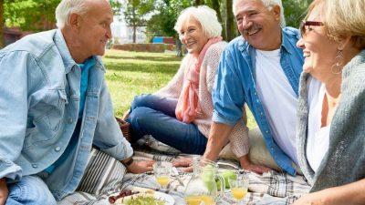 Older people enjoying a picnic