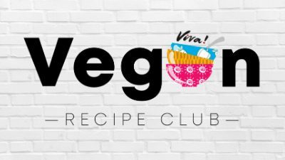 vegan recipe club logo on brick background