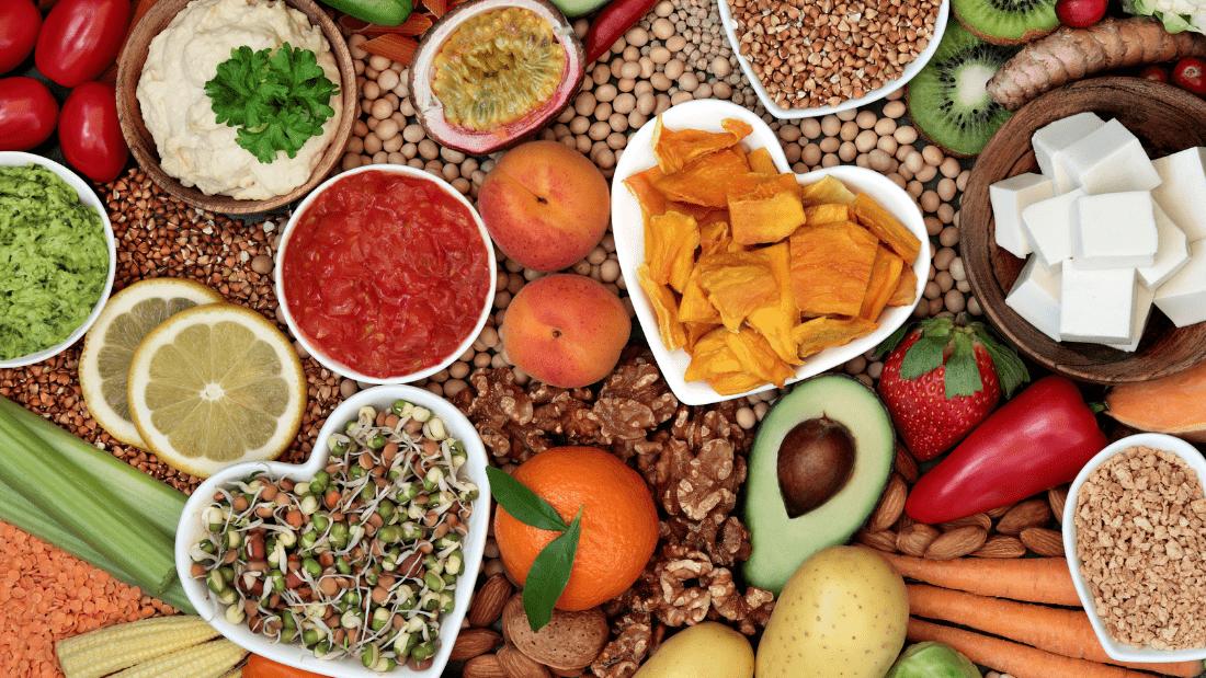 Healthy vegan diet with lots of fibre