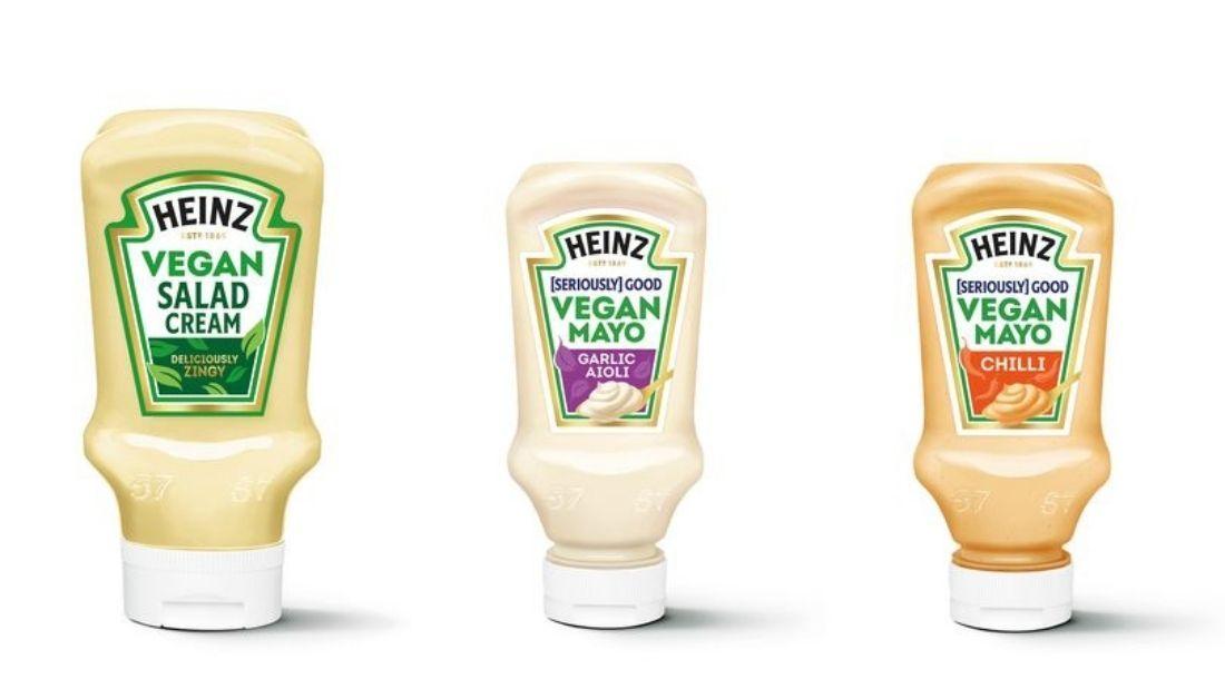 Three Vegan Heinz Sauces on White Background