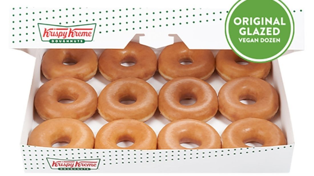 12 vegan Krispy Kreme doughnuts in box
