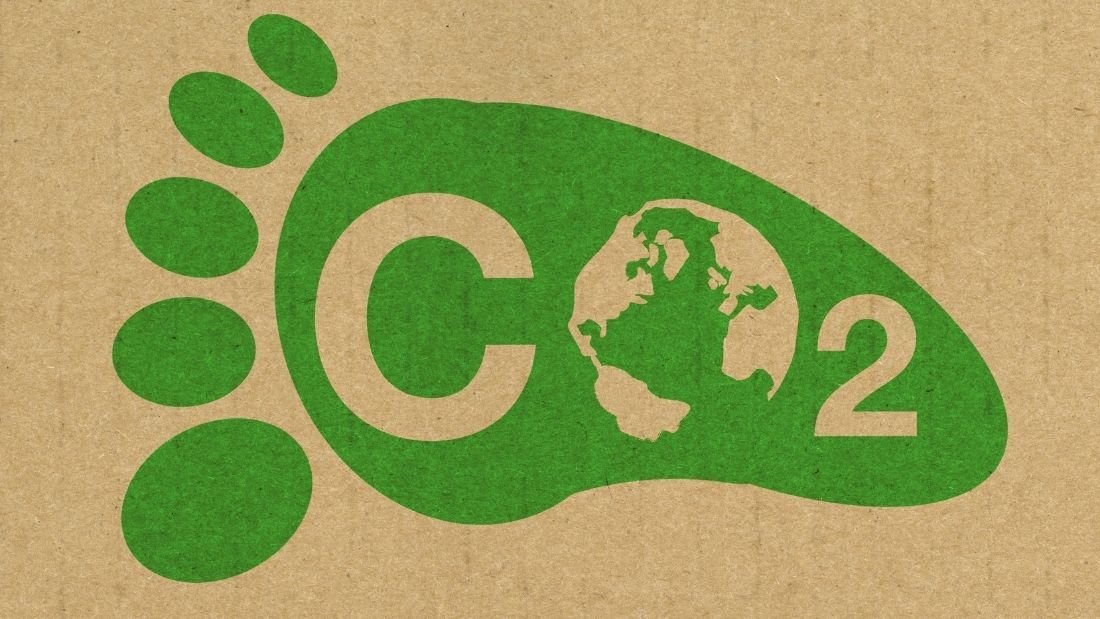 Green footprint with 'CO2' in the middle