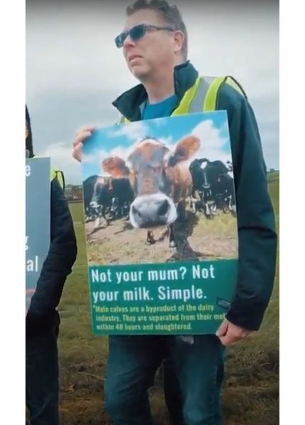 Activist holding a placard