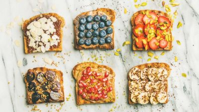 pieces of toast with fruit
