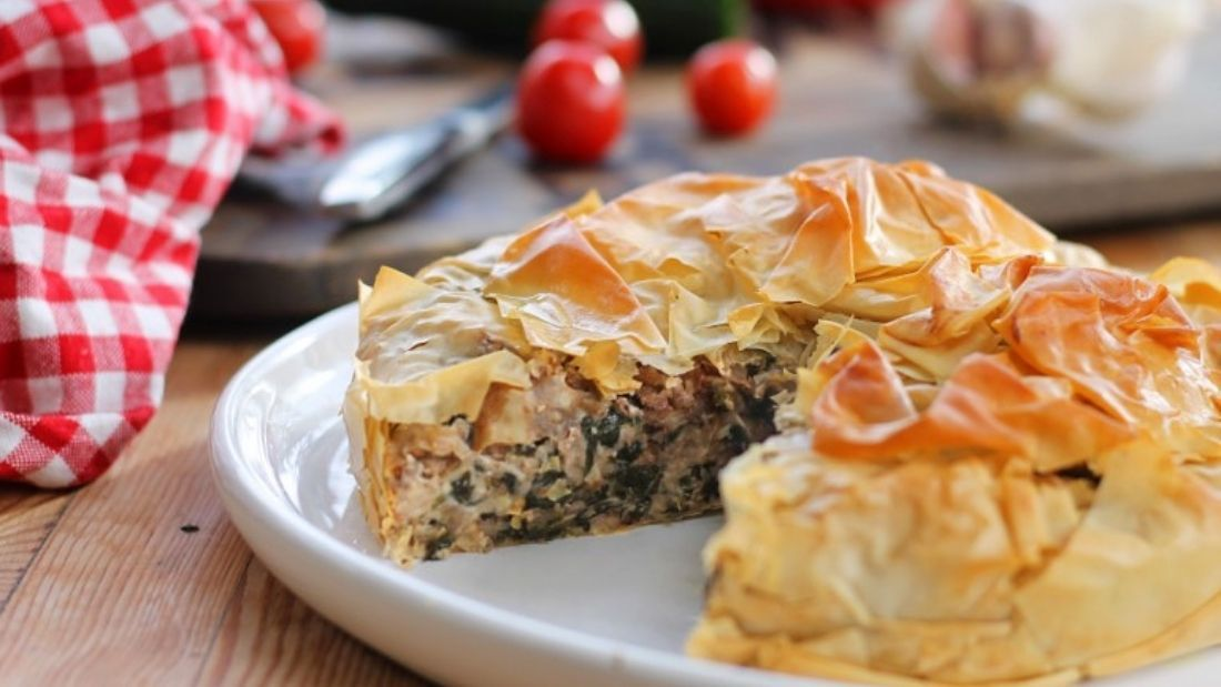 A filo pie filled with spinach, walnut and ricotta.