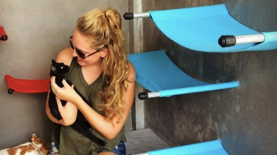 Lucy cuddling a black kitten with blue cat hammocks on the walls