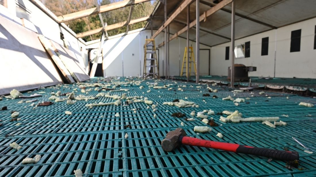 Empty farrowing shed being demolished