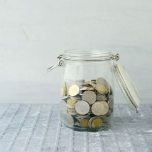 jar filled with coins