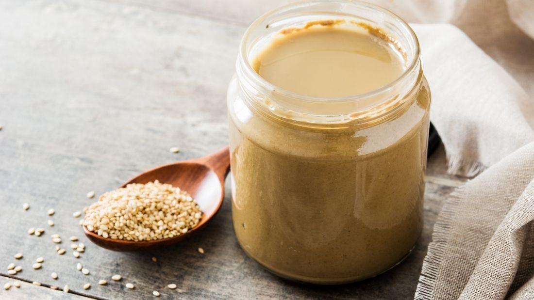 a jar of tahini