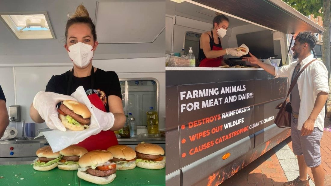 Handing out Vegan Burgers
