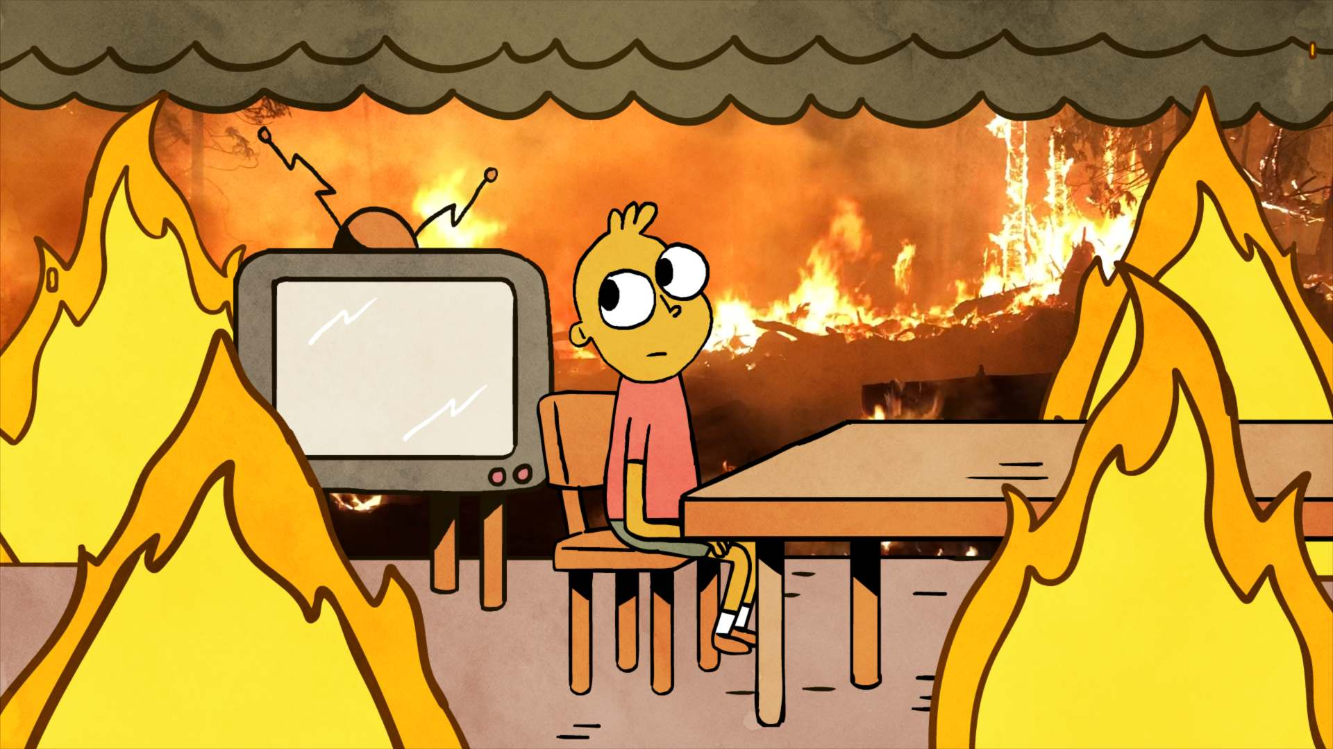 this is fine flames engulfing